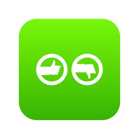 Signs hand up and down icon digital green