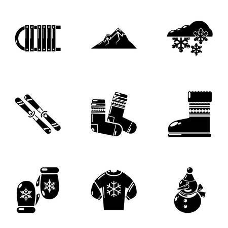 Winter kleding iconen set, eenvoudige stijl