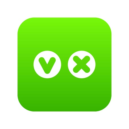 Fat tick and cross in circles icon digital green
