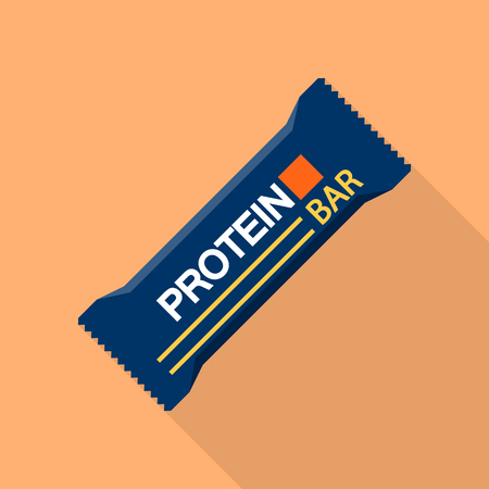 Blue protein bar icon, flat style