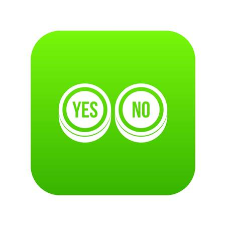 Round signs yes and no icon digital green