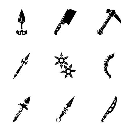 Cold weapon icons set, simple style