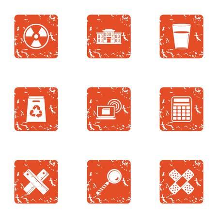 Polymer icons set, grunge style Illustration