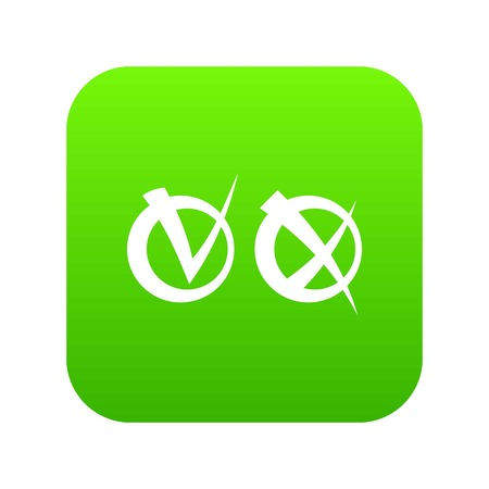Tick and cross in circles icon digital green