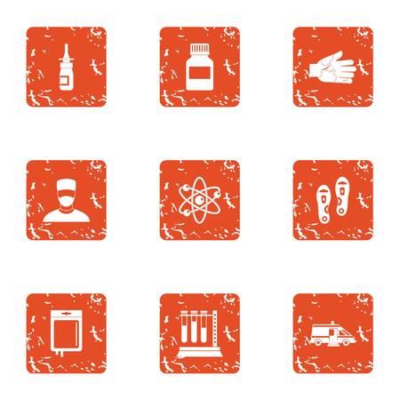 Metabolic icons set, grunge style