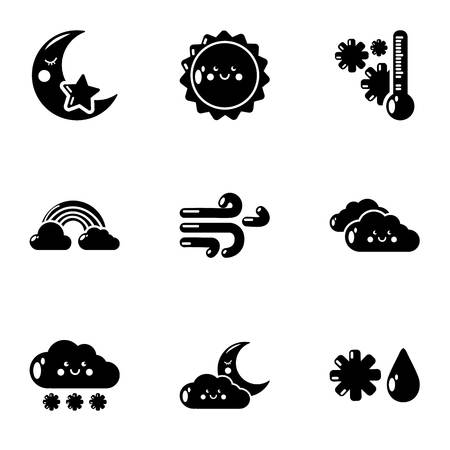 Wintertime icons set, simple style