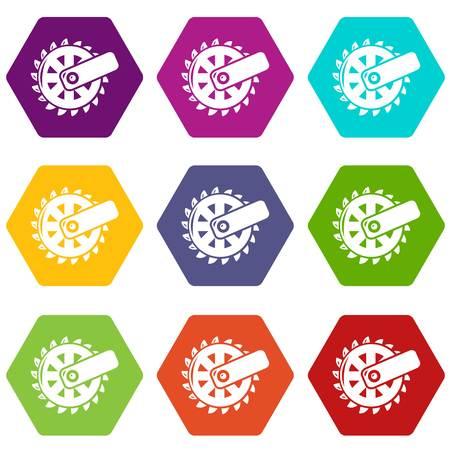 Mining cutting wheel icons set 9 vector