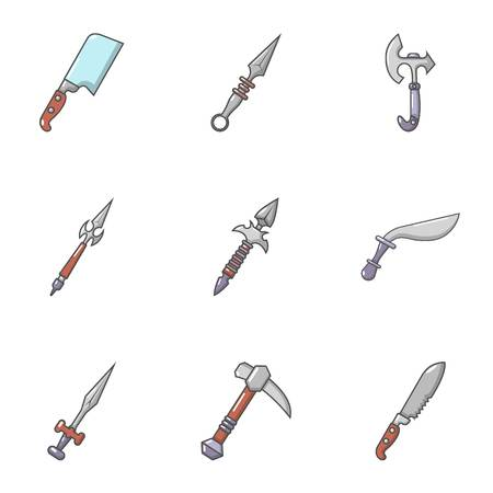 Cold steel icons set, cartoon style