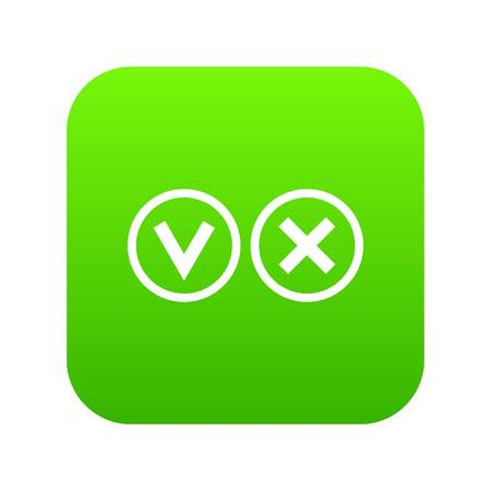 Signs of choice of tick and cross icon digital green