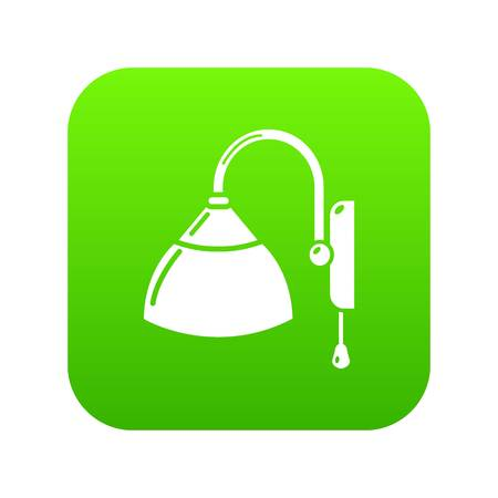 Wall lamp icon green vector