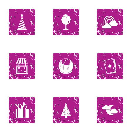 Winter prank icons set, grunge style Illustration
