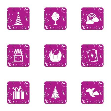 Winter prank icons set, grunge style Ilustração