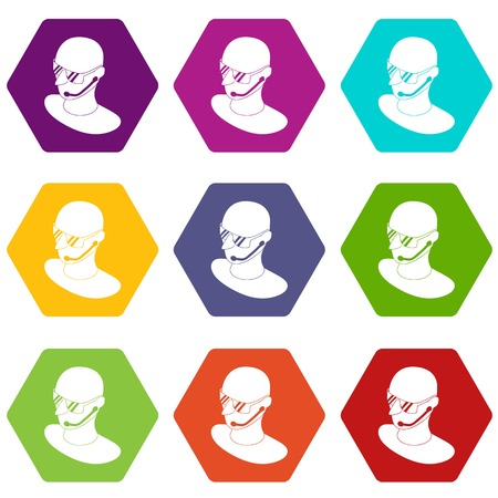 Security man icons set 9 vector Illustration