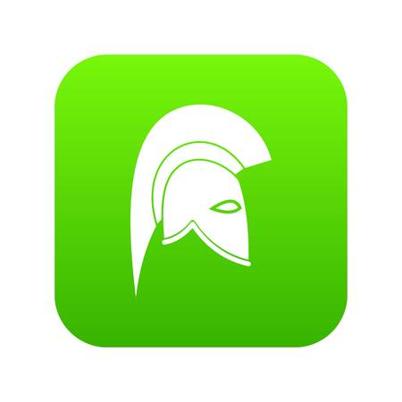 Roman helmet icon digital green Illustration