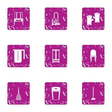 Set di icone di pulizia della camera. Un insieme di lerciume di 9 icone di vettore di pulizia della stanza per il web isolato su fondo bianco