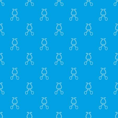 Surgical scissors pattern vector seamless blue repeat for any use