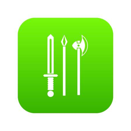 Ancient weapon sword, pick and axe icon digital green for any design isolated on white vector illustration Illustration