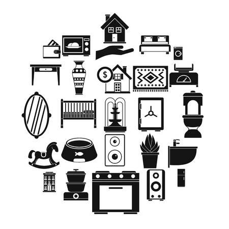 Crib icons set, simple style Illustration