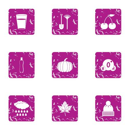 Cold snap icons set, grunge style