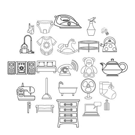 Children room icons set, outline style Vettoriali