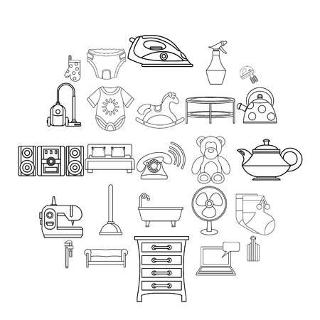 Children room icons set, outline style Illustration