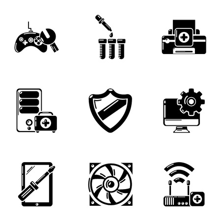 Fix computer icons set, simple style