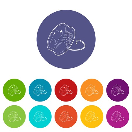 Dental floss icons set vector color