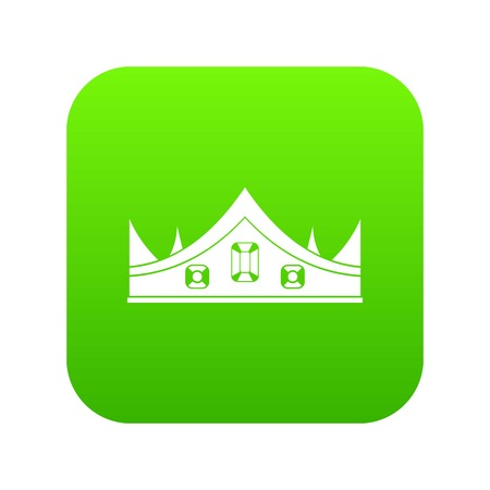 Royal crown icon digital green Illustration