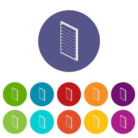 Rectangular window frame icons set vector color
