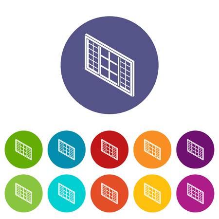 Wood window frame icons set vector color Illustration