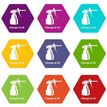 Change oil icons set 9 vector