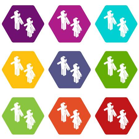 Female and male to market icons set 9 vector