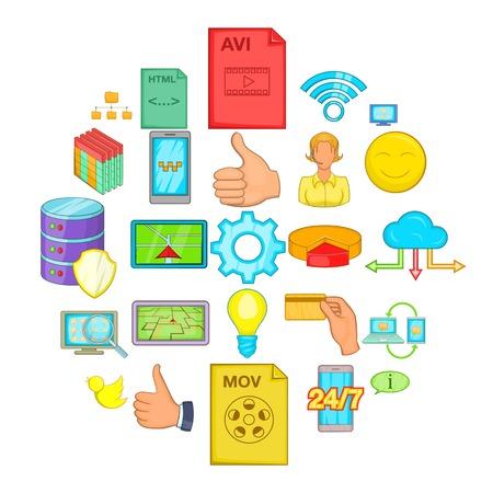 Internet entertainment icons set, cartoon style Illustration
