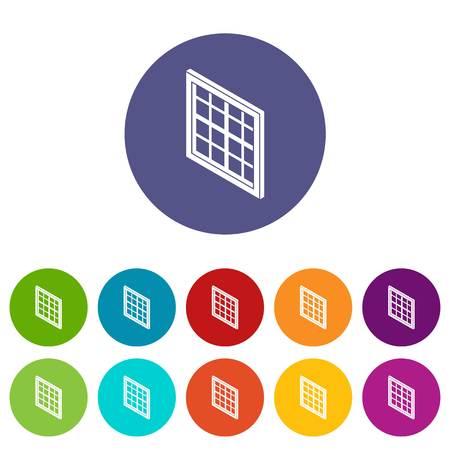 Lattice window frame icons set vector color