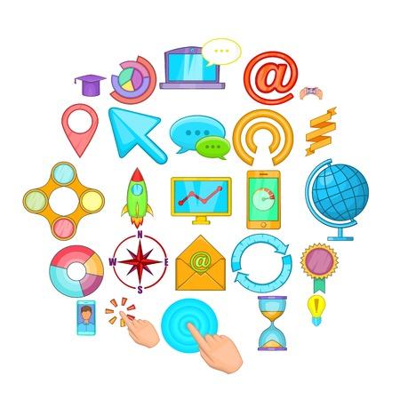 Online entertainment icons set, cartoon style