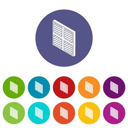 Iconos de marco de ventana cuadrada establecer color vectorial