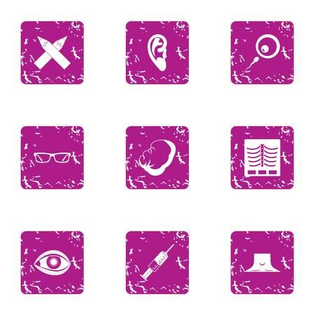 Modern cure icons set, grunge style
