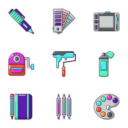Painting the room icons set, cartoon style