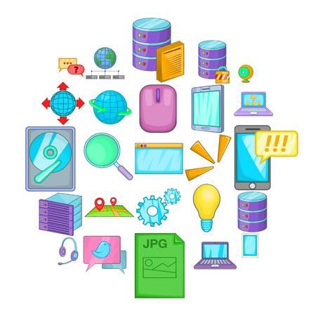 Online icons set, cartoon style
