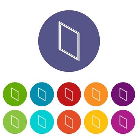 Metal-plastic window frame icons set vector color