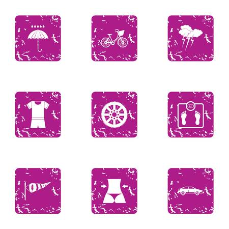 Beach promiscuity icons set, grunge style
