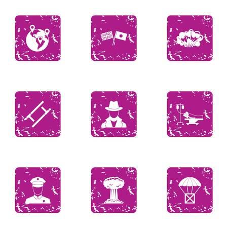 Mindset icons set, grunge style