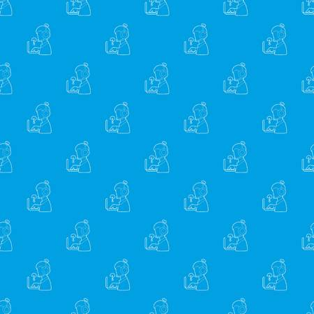 Man operator pattern vector seamless blue  イラスト・ベクター素材