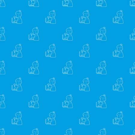 Man operator pattern vector seamless blue Illustration