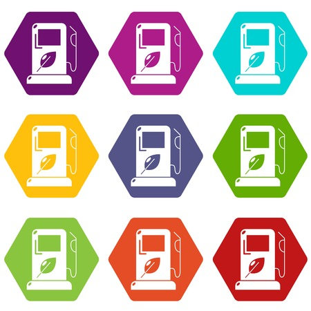 Eco gas station icons set 9 vector