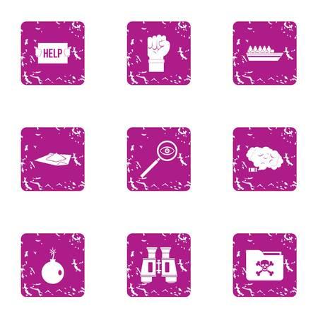 Distress signal icons set, grunge style Illustration