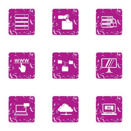 Web share icons set, grunge style Illustration