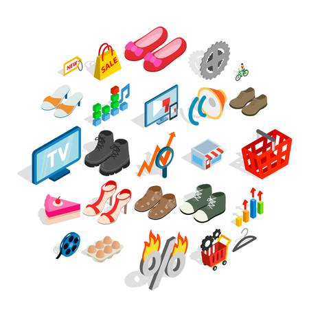 Online business icons set, isometric style