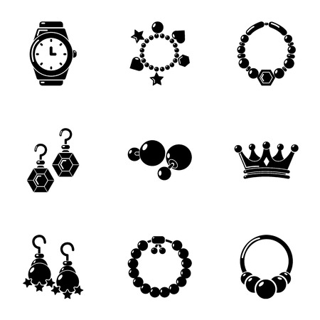 Adornment icons set, simple style