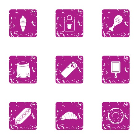 Light snack icons set, grunge style